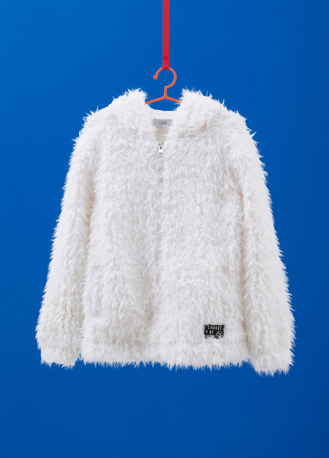Faux fur gilet with hood