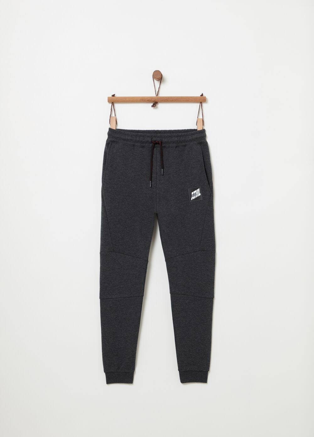 Interlock trousers with drawstring and ribbing