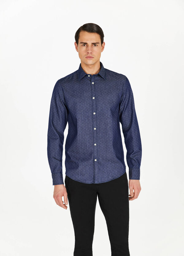 Casual cotton shirt with speckled pattern
