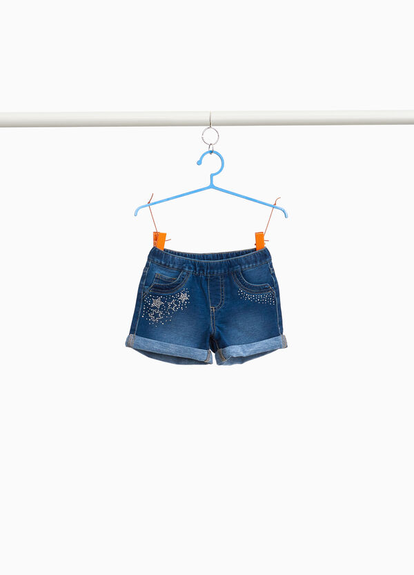 Stretch denim shorts with diamanté stars