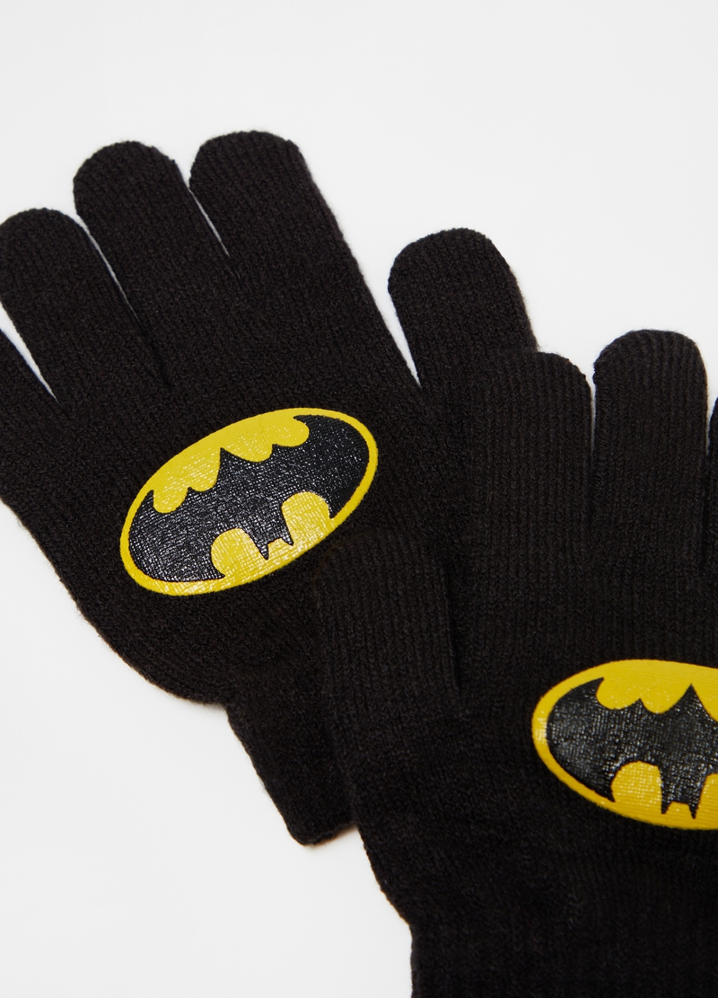 Gloves with Batman print image number null