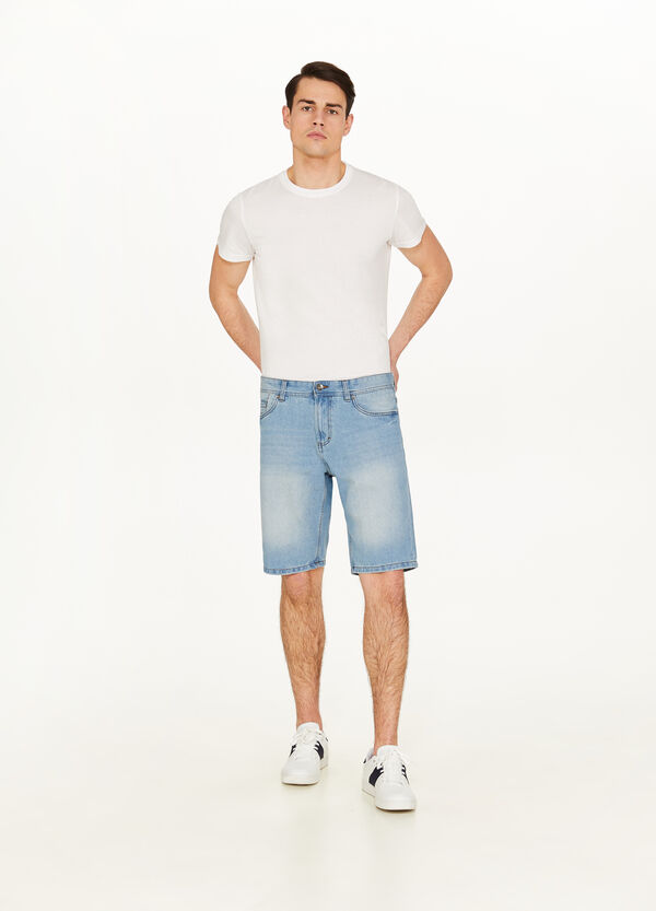 Straight-fit washed-effect denim Bermuda shorts