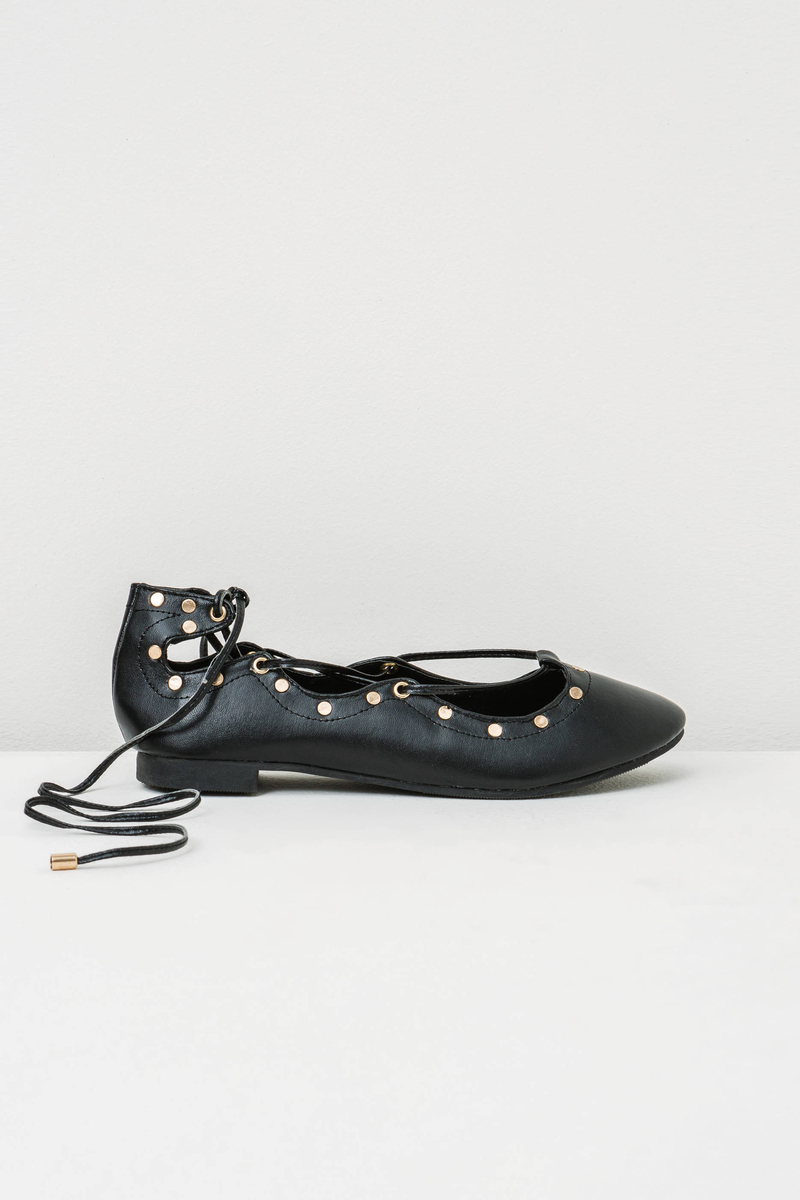 Ballerina flats with ties and low heel image number null