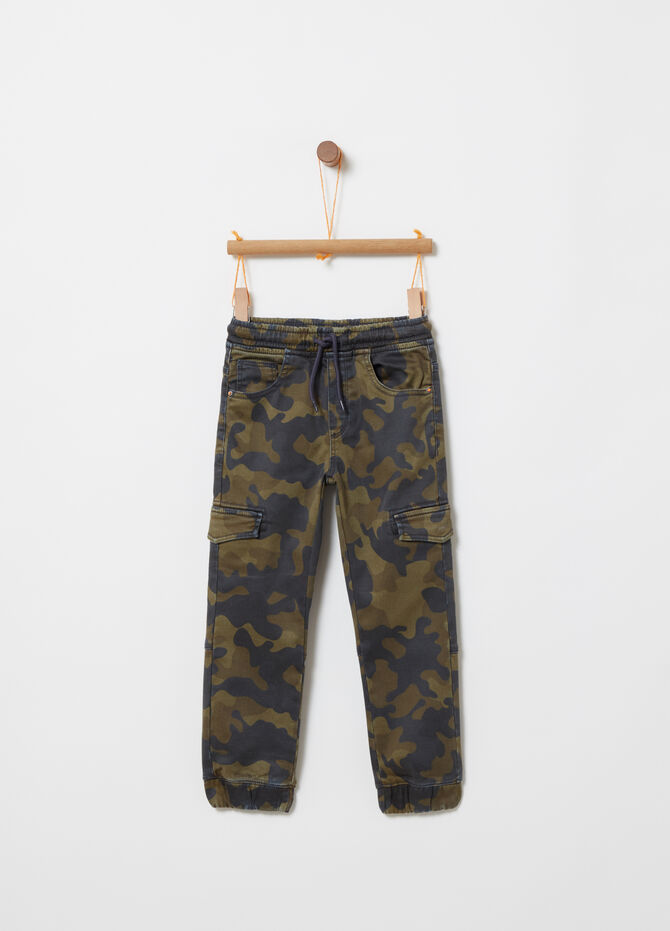 Stretch joggers with camouflage pattern