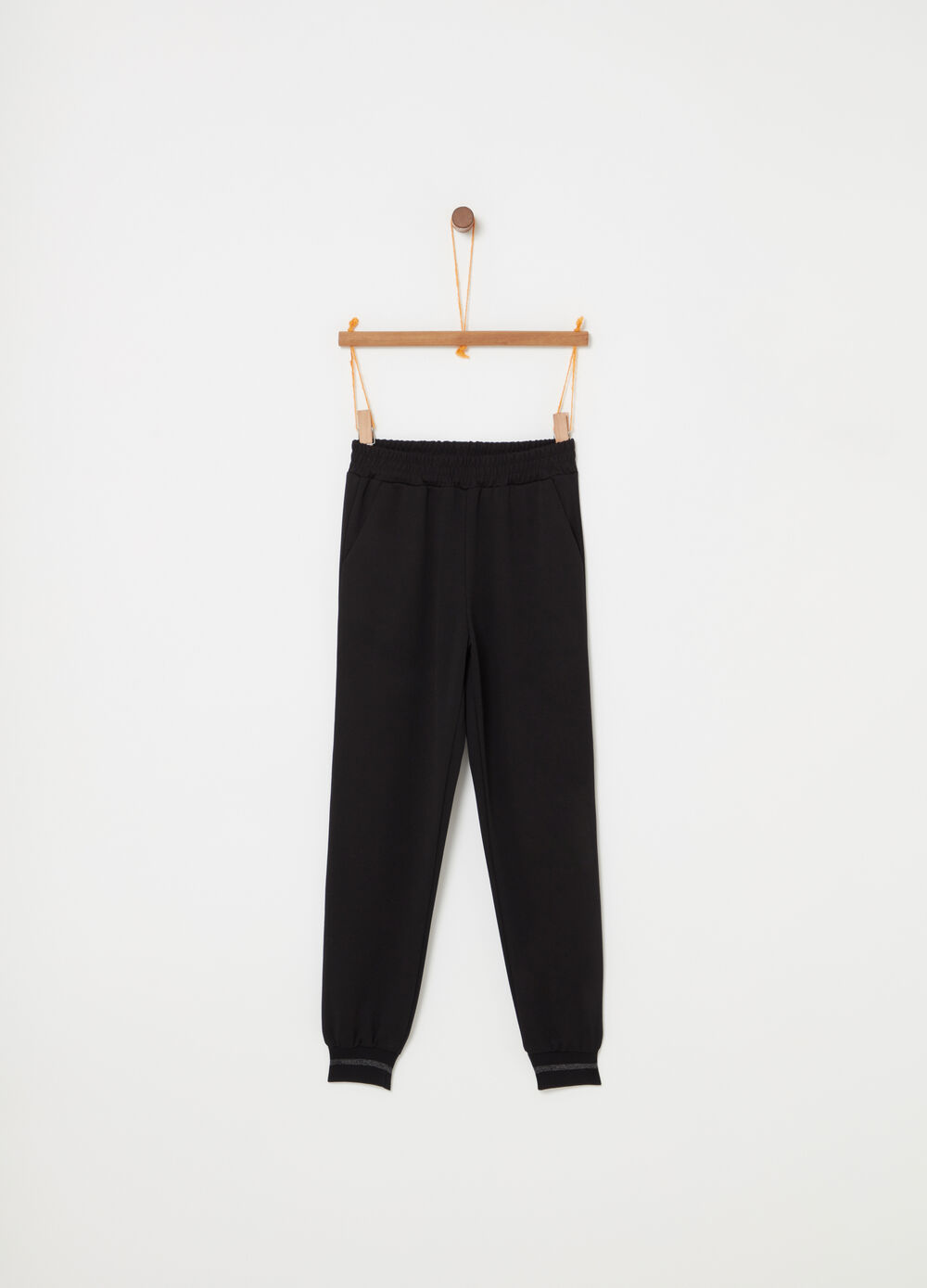 Jogger trousers with glitter ribbing