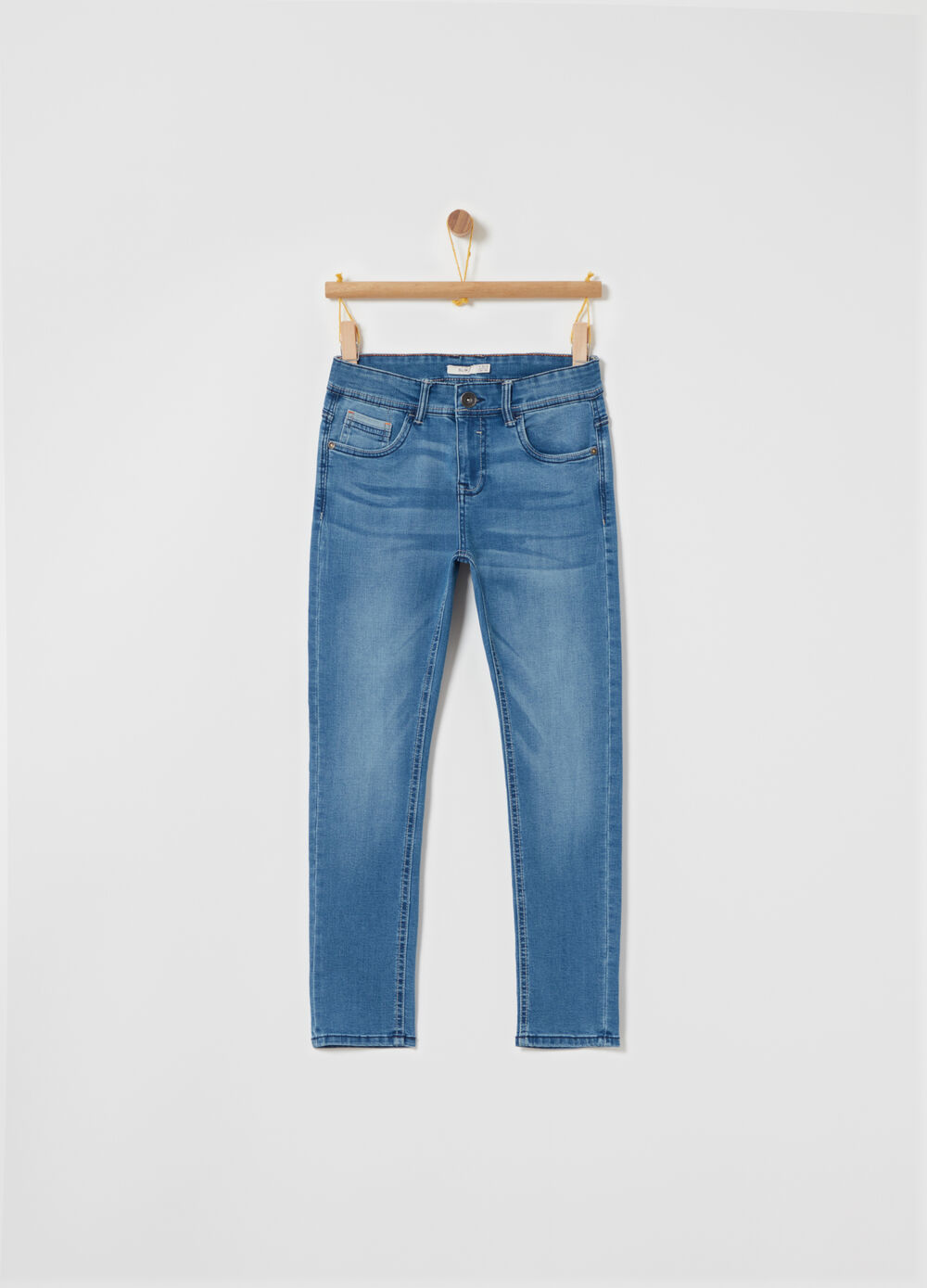 Slim-fit washed-effect stretch jeans