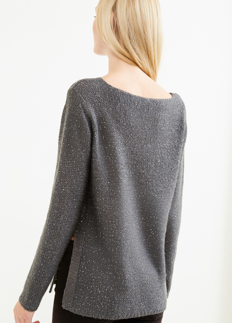 Pullover tinta unita con paillettes image number null