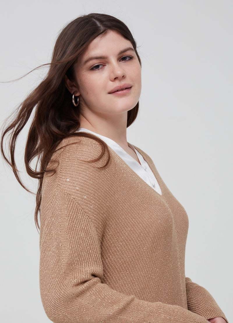 Curvy top with knitted lurex image number null