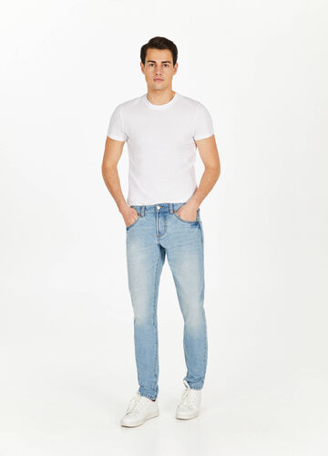 Jeans straight fit used baffature
