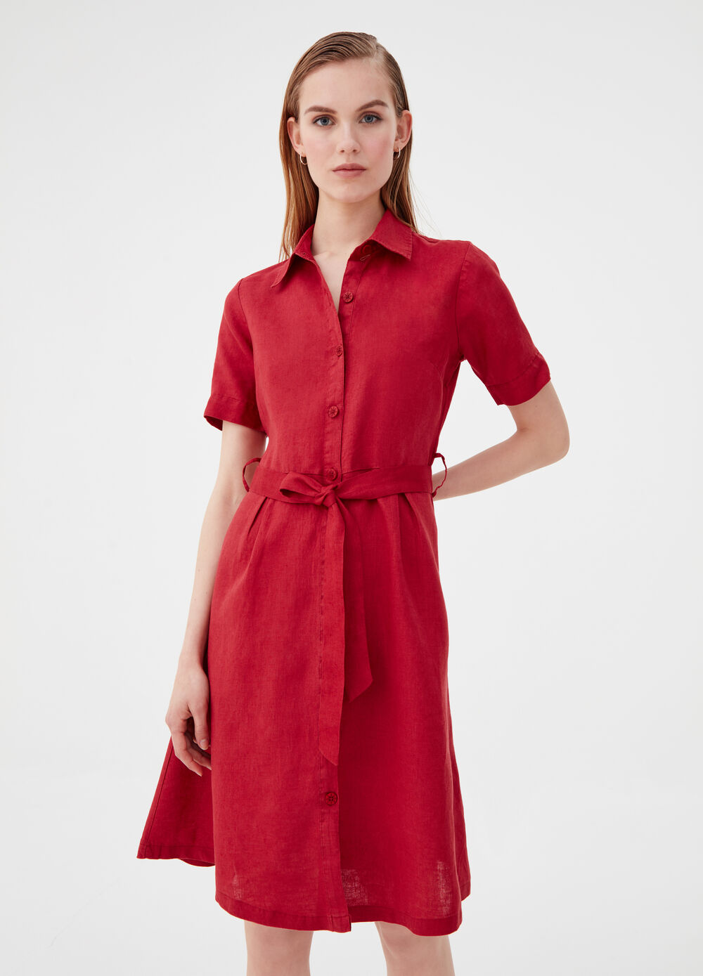 100% linen shirt dress with belt