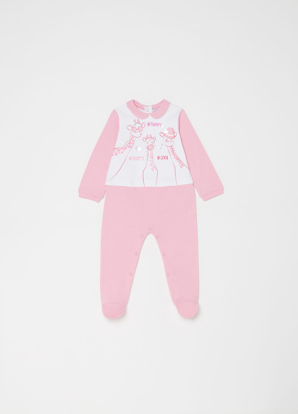 Two-tone sleepsuit in cotton with giraffes