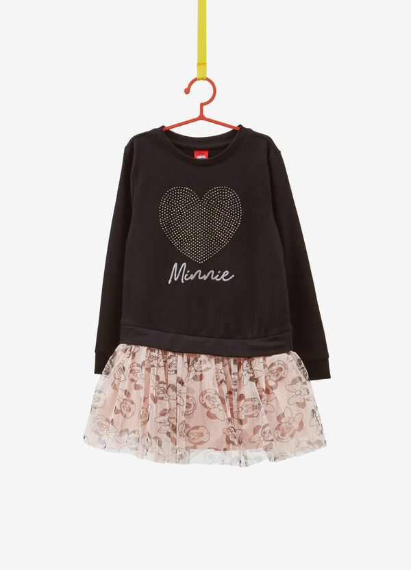 Dress with diamantés and Minnie Mouse patterned skirt