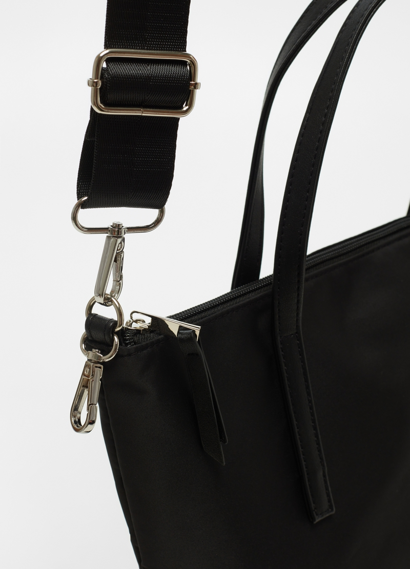 Shopping bag with shoulder strap and zip image number null
