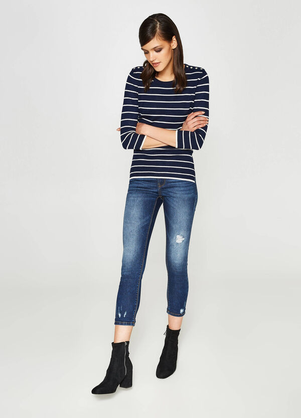 Skinny-fit worn-effect stretch crop jeans | OVS