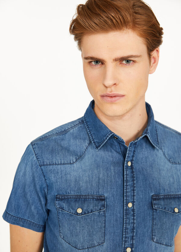 Casual denim shirt with pockets