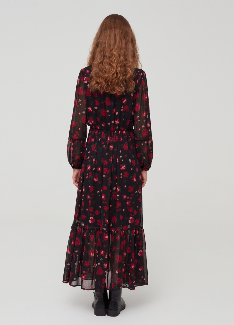 Long dress with floral flounce image number null