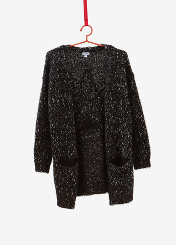Maxi knitted glitter cardigan with embroidery