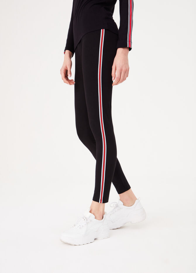 Stretch cotton leggings with striped bands
