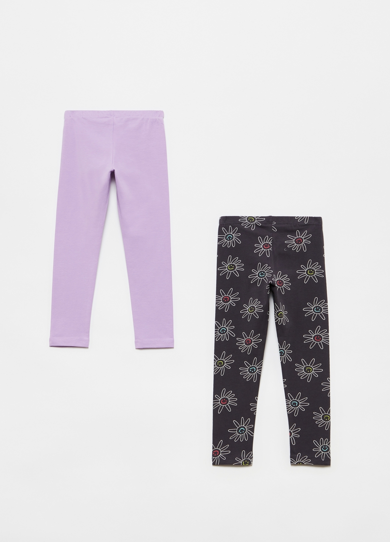 Two-pack leggings in stretch cotton image number null