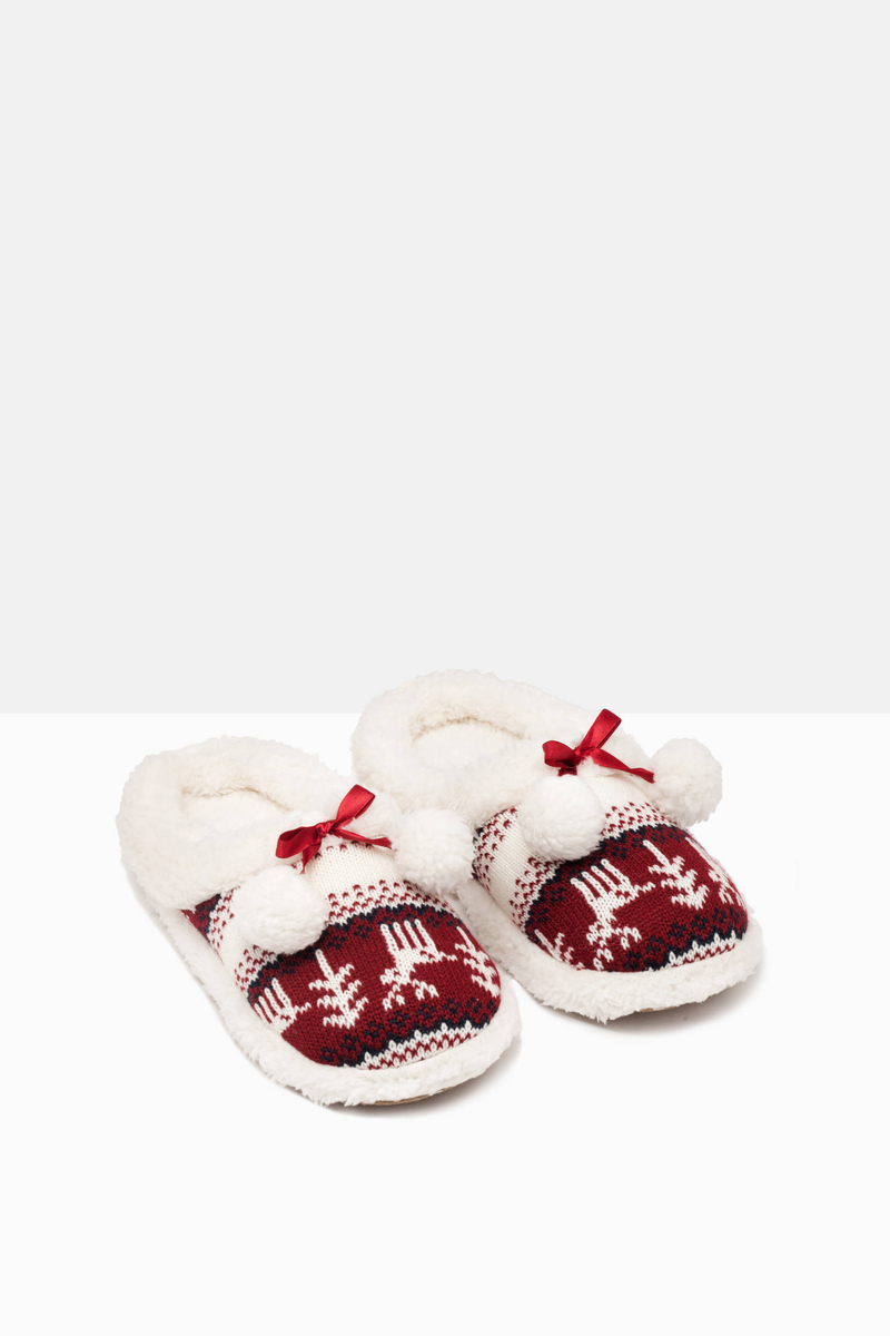 Knitted slippers with pompoms image number null