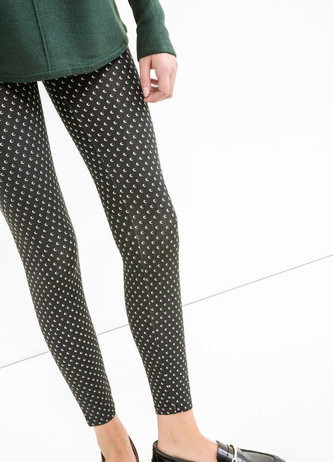 Stretch cotton leggings with all-over print