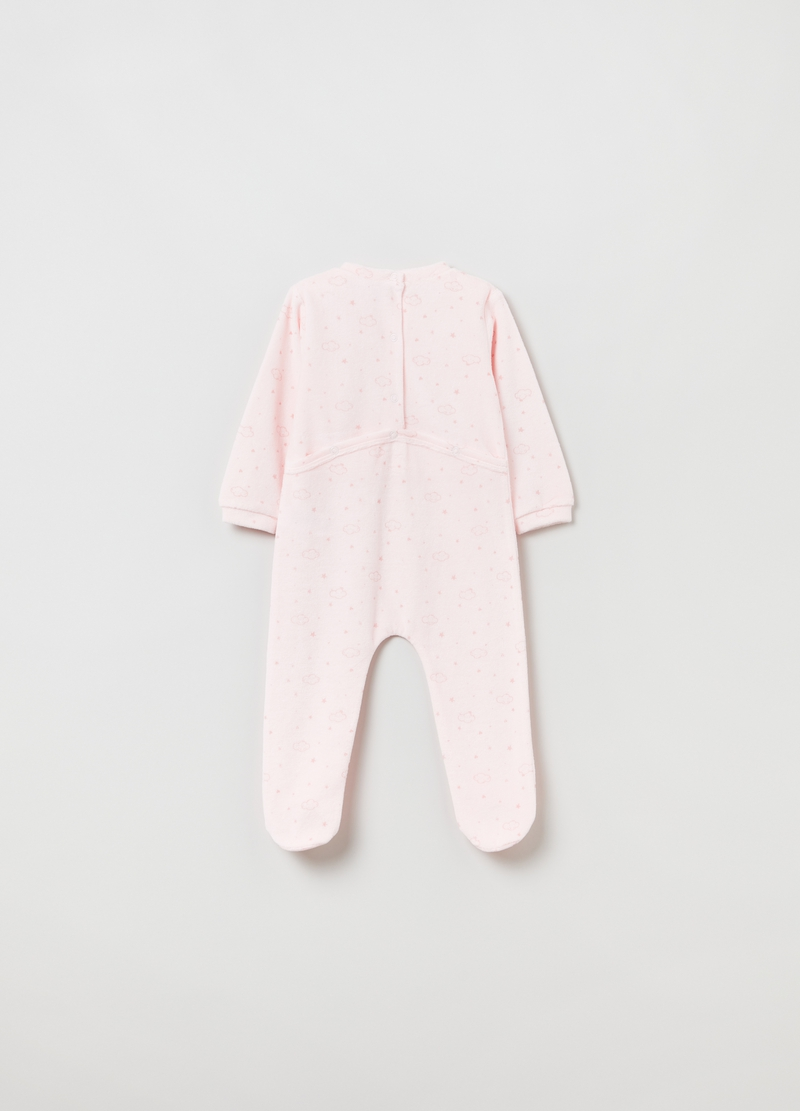 Velour onesie with feet and print. image number null