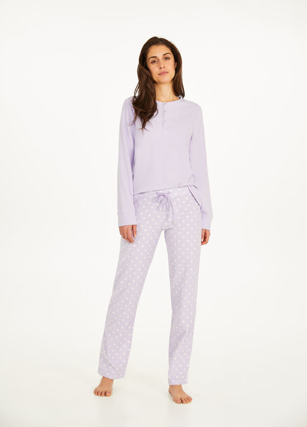 Fleece pyjama trousers with drawstring