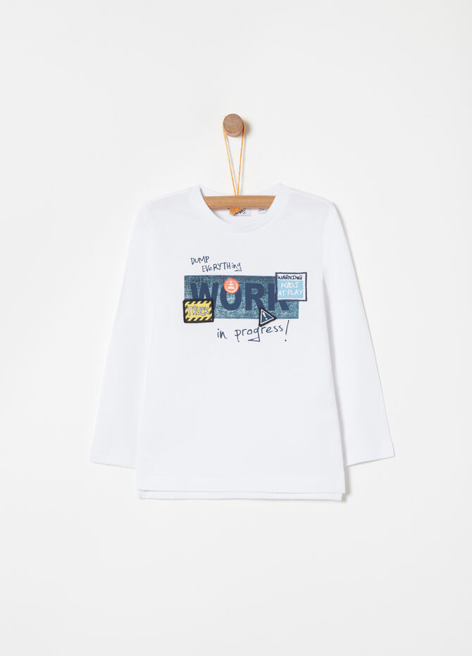 Cotton T-shirt with print and embroidery details