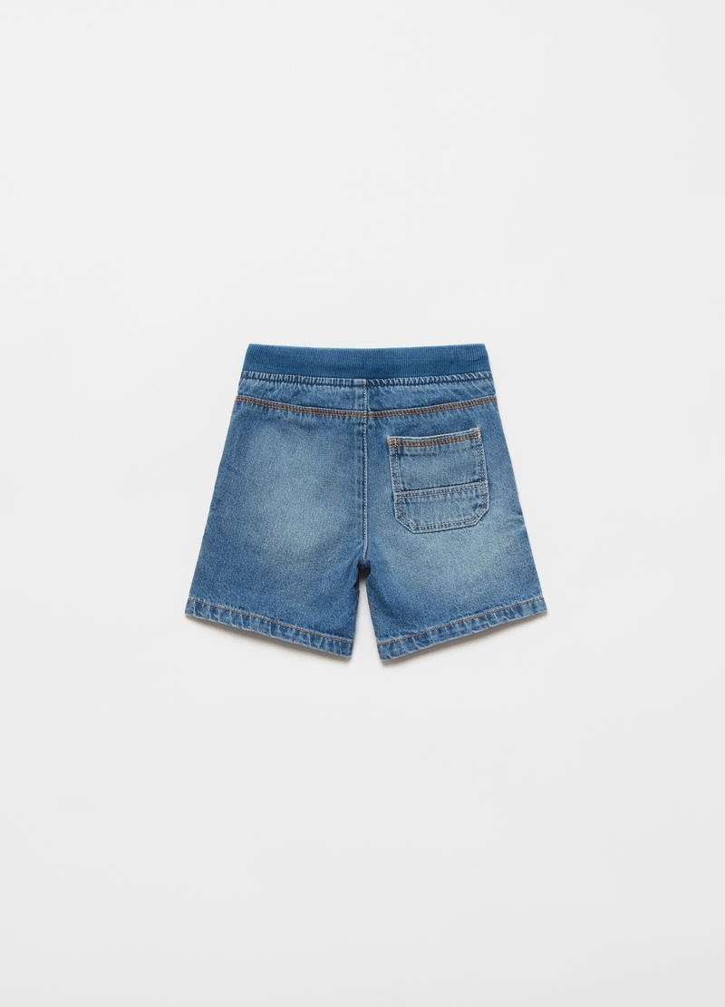 Shorts in denim con coulisse image number null