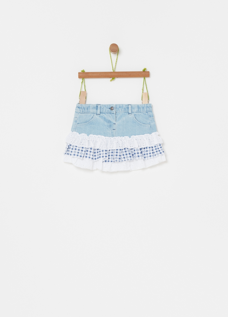 Denim and broderie anglaise skirt image number null