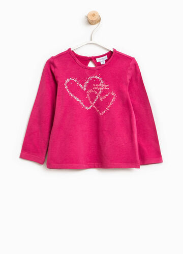 Cotton T-shirt with hearts print