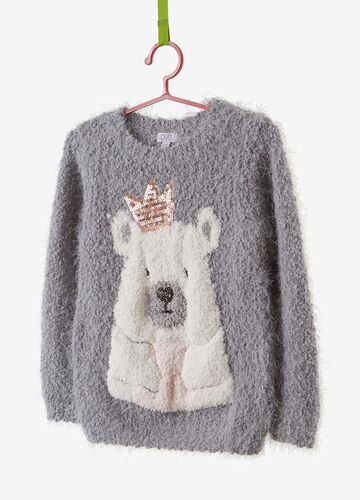 Faux fur sweatshirt with teddy bear embroidery