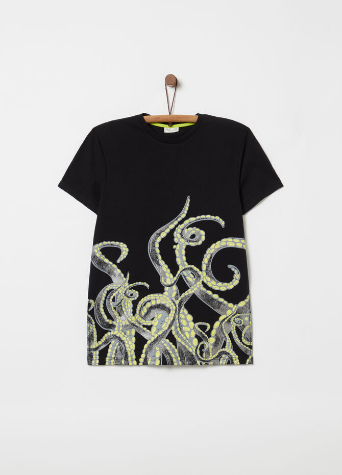 T-shirt in 100% cotton with tentacles print