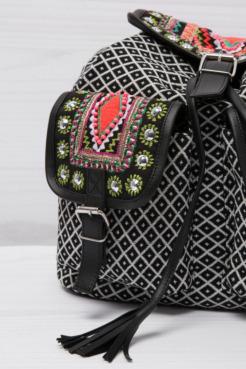 Ethnic pattern cotton backpack image number null