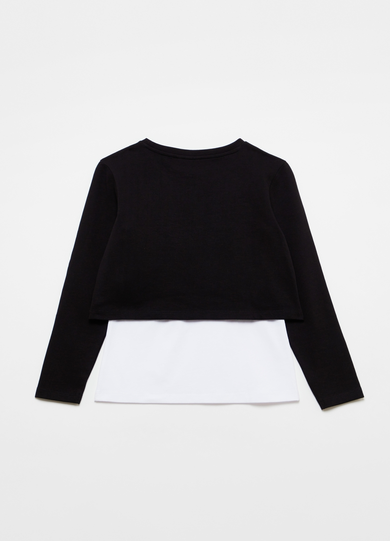 Two-tone crop sweatshirt with lettering print image number null