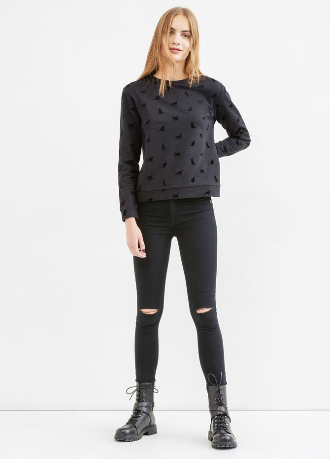 Round neck cotton sweatshirt with print