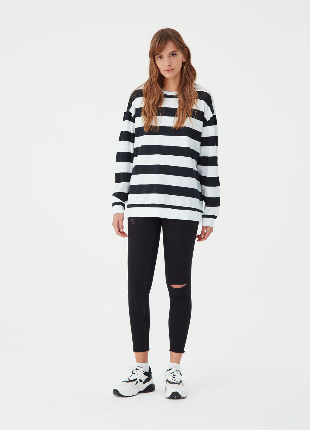 Over-fit BCI T-shirt with striped pattern