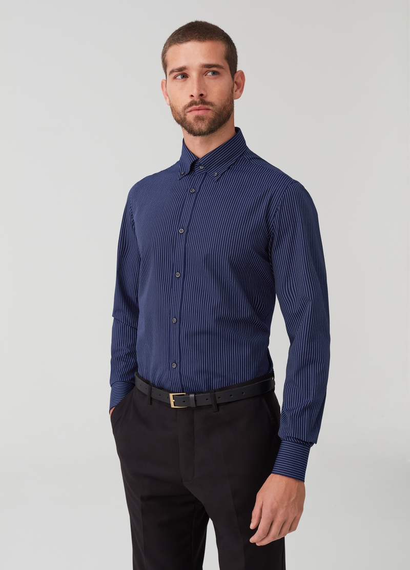 Slim-fit button-down shirt with stripes image number null