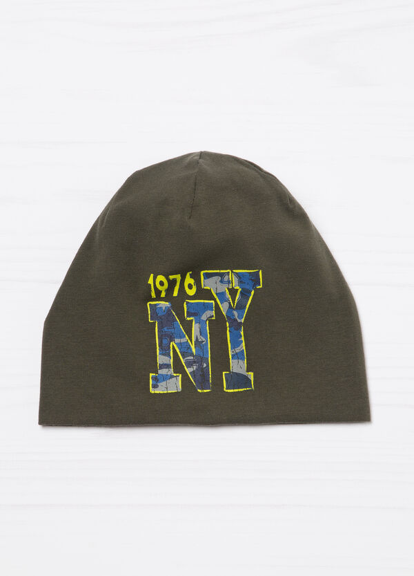 Solid colour cotton beanie cap with print | OVS