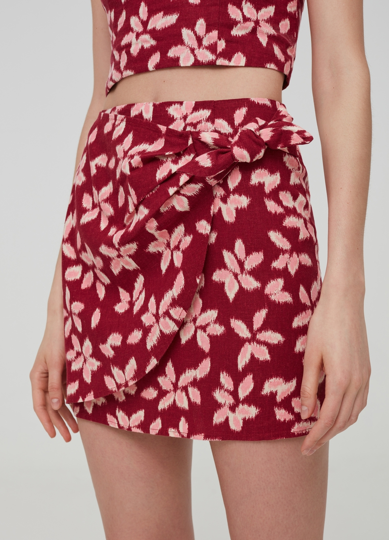 Floral mini skirt in linen and viscose image number null