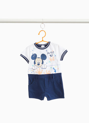 Two-tone cotton romper suit with Mickey Mouse print