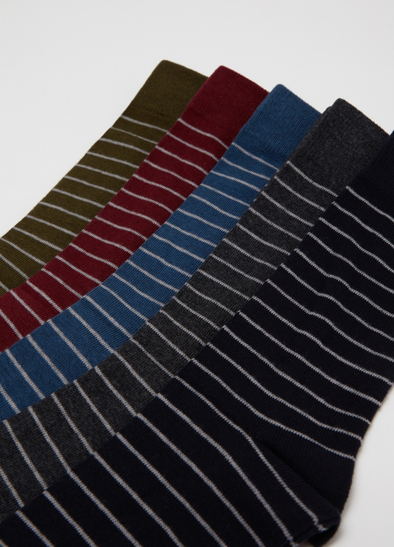Five-pair pack short socks with striped pattern image number null