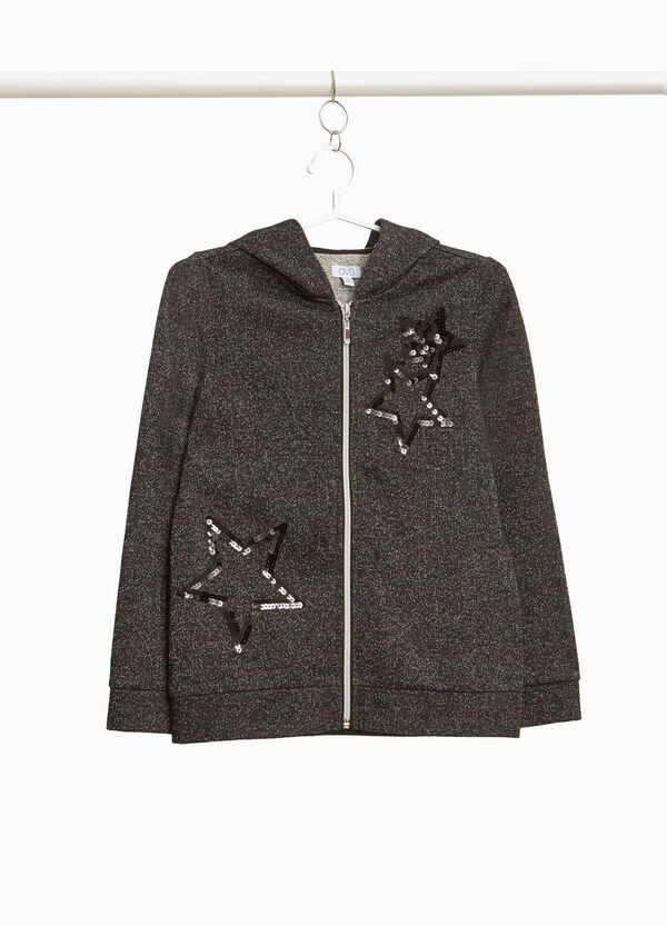 Sweatshirt with lurex and sequins