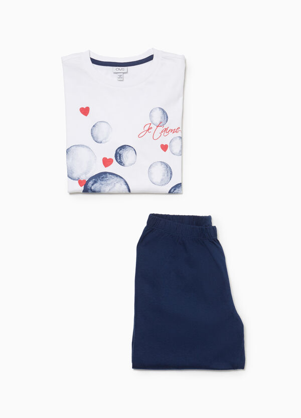 100% cotton pyjamas with bubbles and hearts