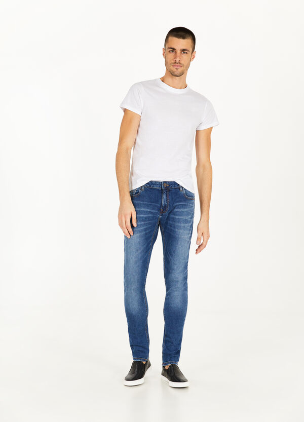 Slim-fit faded stretch jeans
