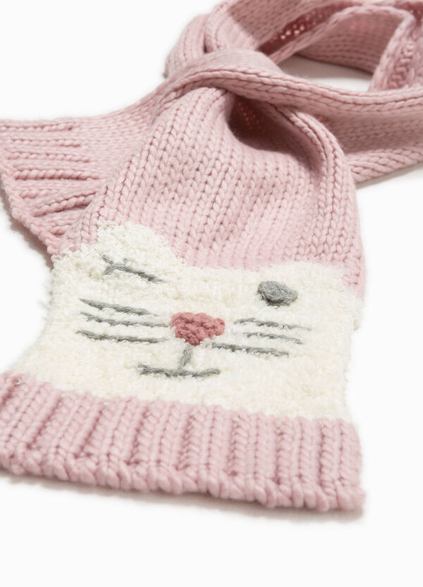 Knitted scarf with animal embroidery | OVS