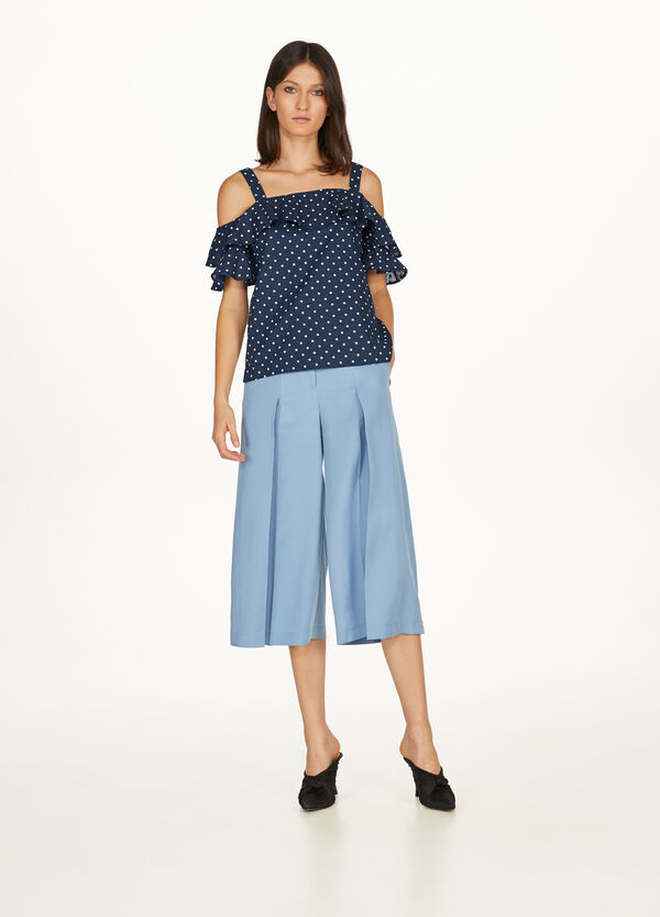 Gaucho-model pleated trousers
