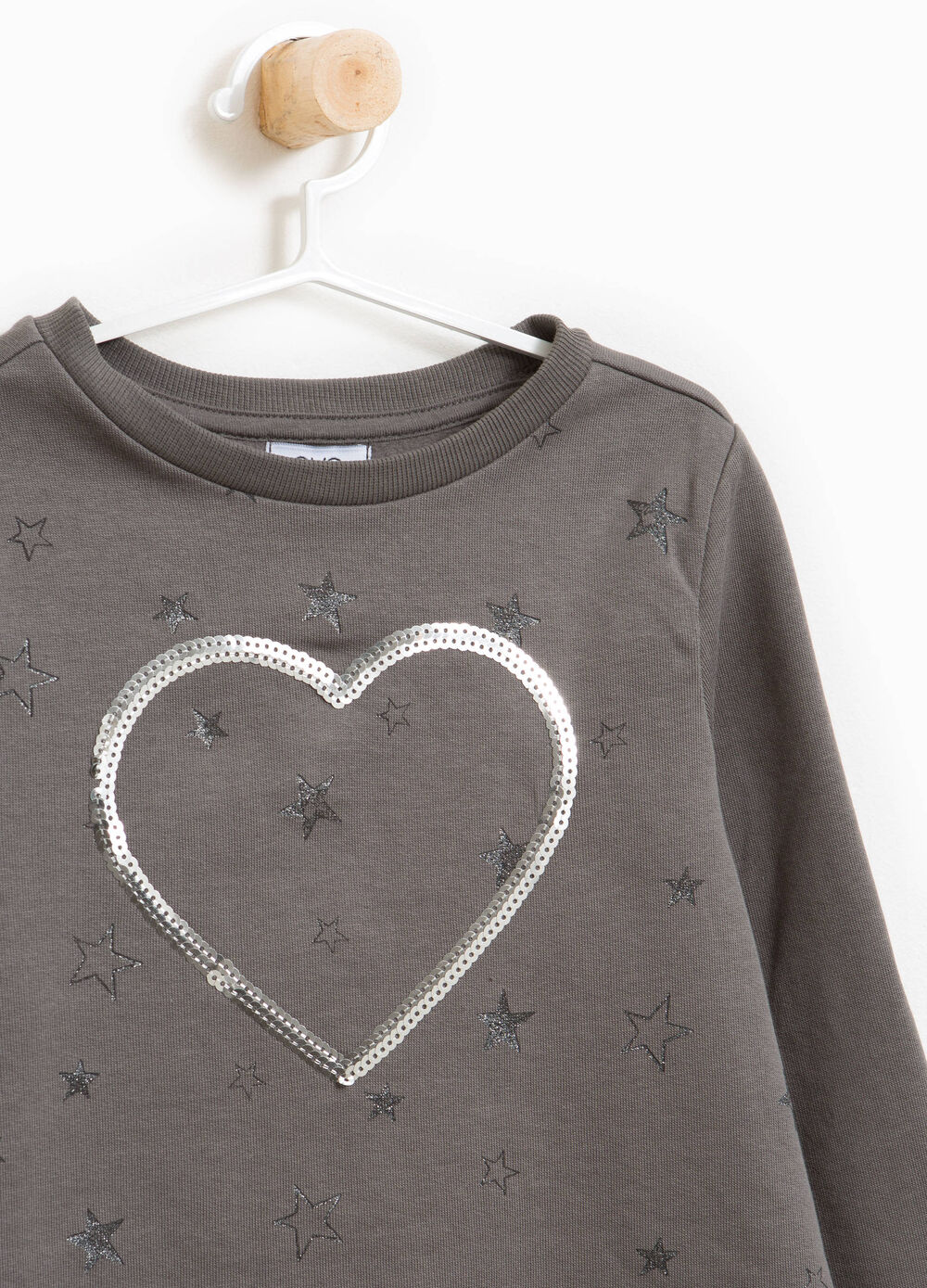 Stretch cotton sweatshirt with glitter stars