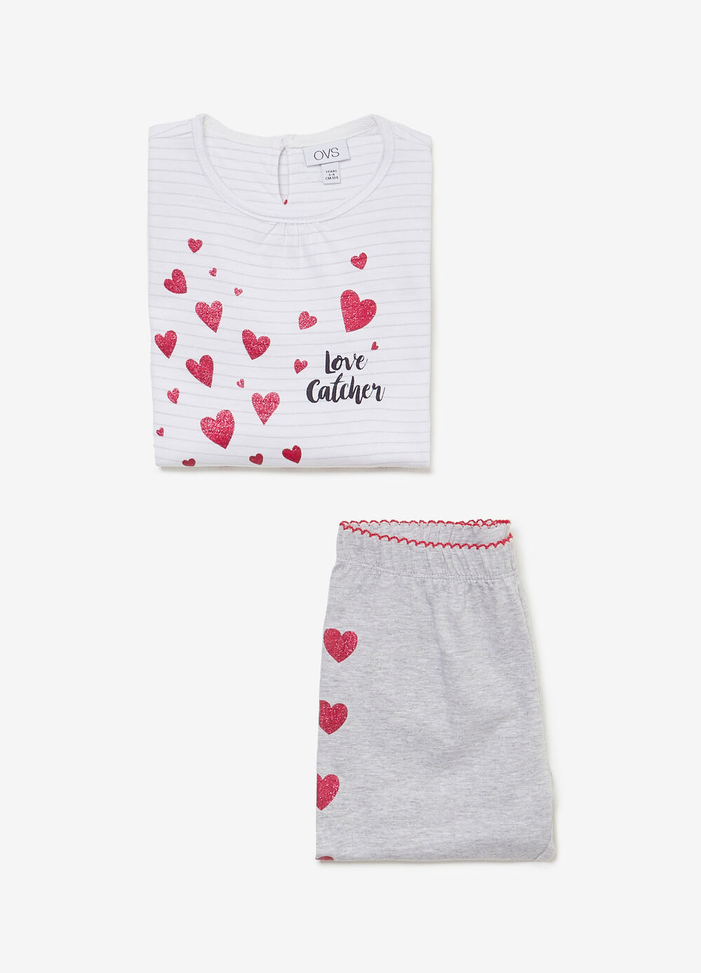 100% cotton pyjamas with stripes and hearts