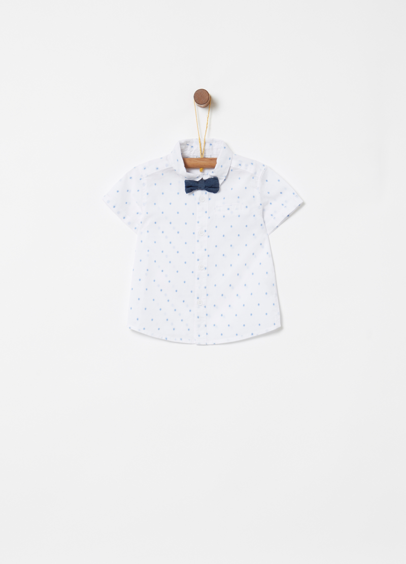 Shirt with bow tie, short sleeves and polka dots image number null